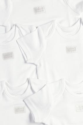 5 Pack of Short Sleeve White Bodysuits