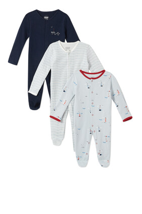 3Pack of  LIGHTHOUSE Sleepsuits