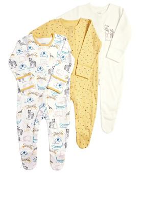 Pack of 3 Zoo Sleepsuits