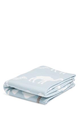 Knitted Blanket (70x90cm) - Blue Camel