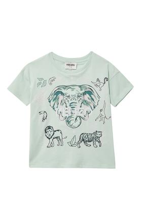JG SS T-SHIRT W ELEPHANT PRINT ALONG W TIGER AND LION:Green :2Y