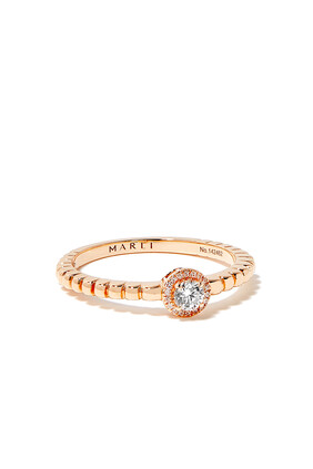 Rock Circle Diamond Solitaire Ring in 18kt Rose Gold