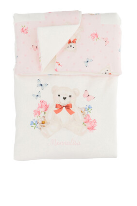 Bear and Logo Cotton Blanket