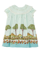 Dogs And Trees Print Silk Dress