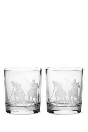 Garrett Double Old Fashion Crystal Whiskey Glass, Set Of Two