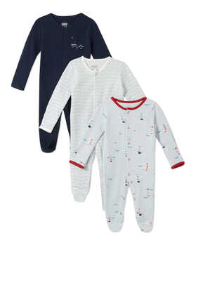 Lighthouse Sleepsuit, Set of Three