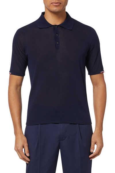 Stripe Detail Knit Polo Shirt