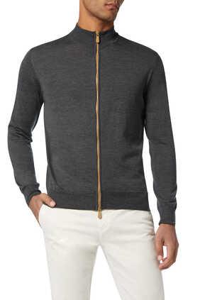 Zipped Turtleneck Cardigan