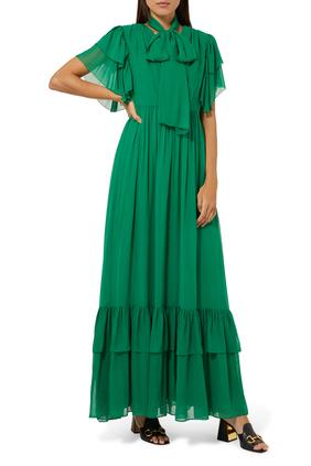 Chiffon Organdy Ruffle Dress