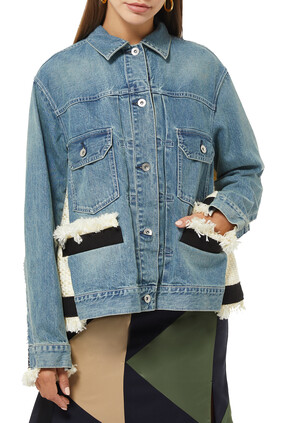 Knitted-Panel Denim Jacket