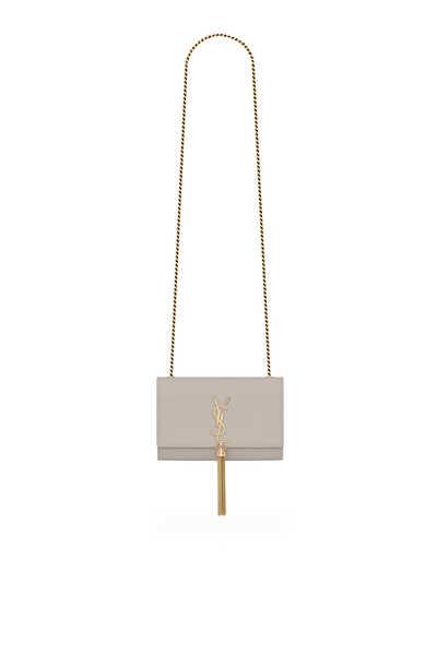 Kate Small Tassel Chain Bag in Grain de Poudre Embossed Leather