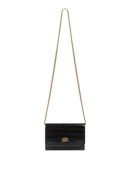 Croc-Embossed Sharp Clutch on Chain