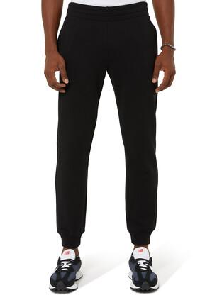 Leather Plaque Cotton Fleece Sweatpants