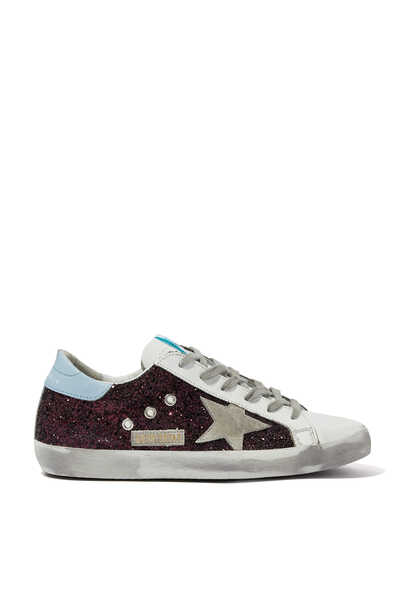 Suede and Glitter Superstar Sneakers