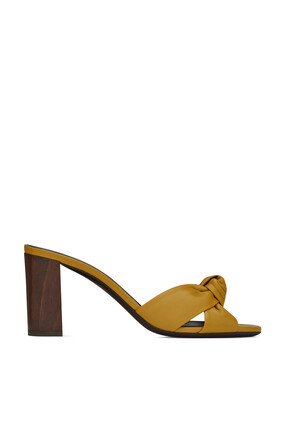 Bianca Leather and Wood Mules