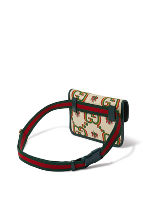 Gucci 100 Belt Bag in Beige and Green Jacquard