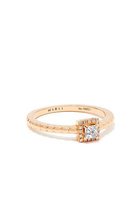 Rock Square Diamond Ring in 18kt Rose Gold