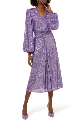 Rouched Waist Midi Dress