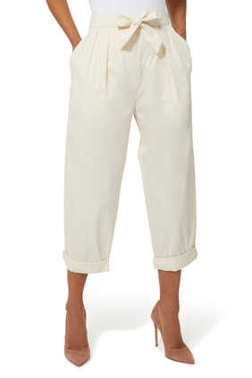 Cotton Twill Straight Pants