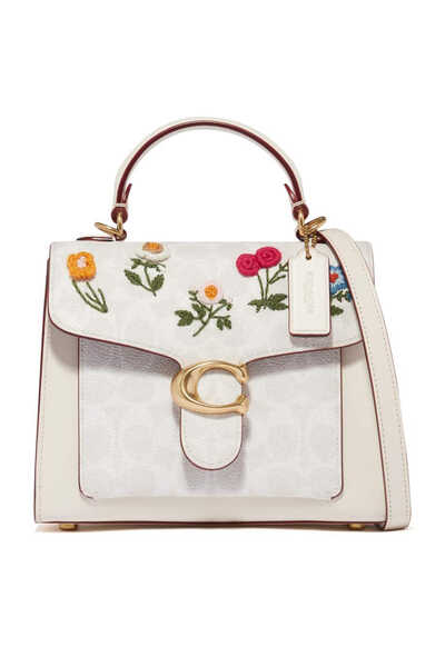 Floral Embroidery Tabby Top Handle 20 Bag