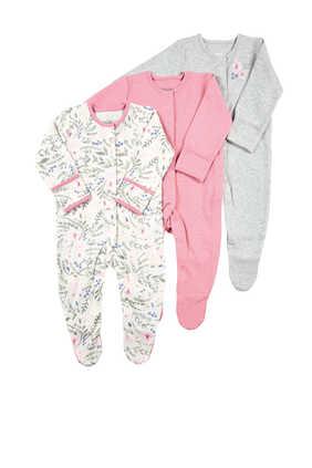 Floral  Sleepsuit, Set of Three