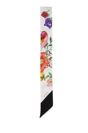 Flora Print Silk Twill Neck Bow