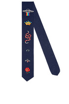 Embroidered Wool Tie