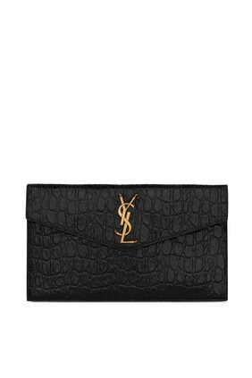 Uptown Pouch In Crocodile-Embossed Leather