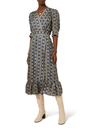 Long Printed Wrap Dress