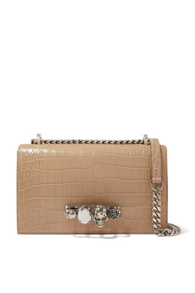 Crocodile-Effect Jeweled Cross-body Bag