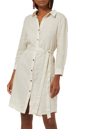 BELLA 3/4 SLV DRESS:Natural :XS