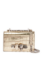 Mini Jewelled Metallic Croc-Embossed Satchel