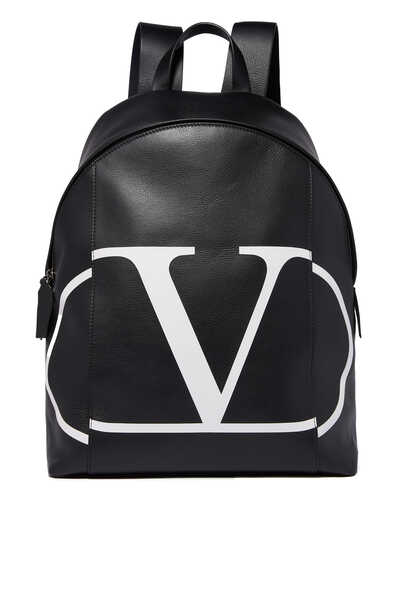 Valentino Garavani Vintage V Logo Leather Backpack