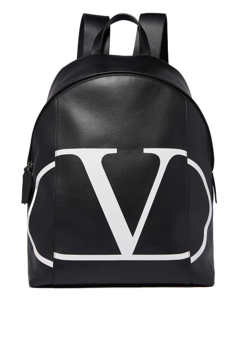 Valentino Garavani Vintage V Logo Leather Backpack image number 1