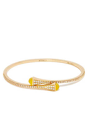 Cleo Yellow Quartz Diamond Slim Slip-on Bracelet in 18kt Yellow Gold