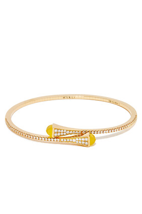 Cleo Yellow Quartz Diamond Slim Slip-on Bracelet in 18kt Yellow Gold