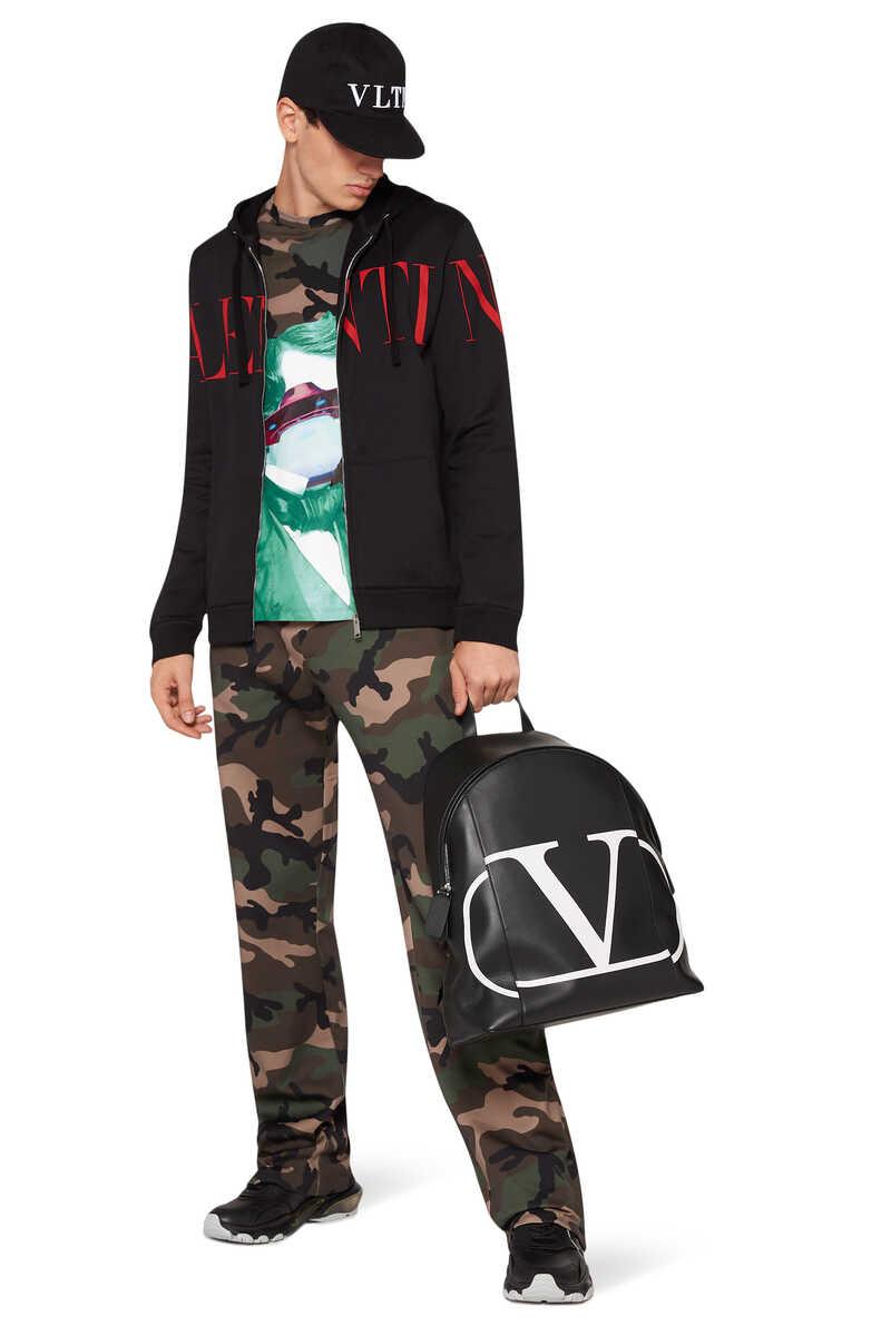 Valentino Garavani Vintage V Logo Leather Backpack image number 2