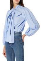 Lurex Embroidered Striped Cotton Shirt