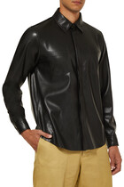Button-up Faux Leather Shirt