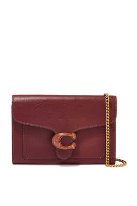 Tabby Pebble Leather Chain Clutch