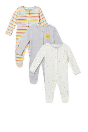 Shapes Cotton Sleepsuit, Set of Three