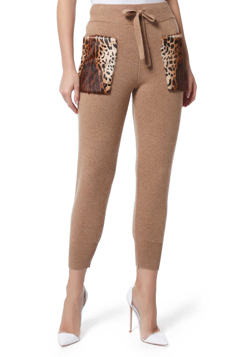 Leopard Patch Knit Pants image number 1