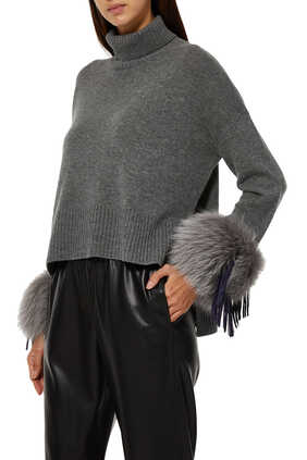 Leather Tassel Cuff Cropped Sweater