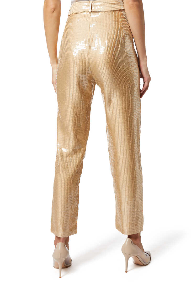 High Waisted Sequinned Tapered Pants image number 3