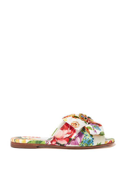 Floral Embellished Slides
