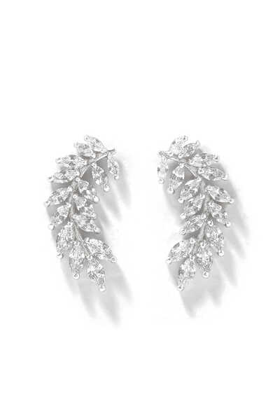 Marquise Curved Leaf Earrings