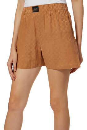 GG Silk Shorts With Gucci Label