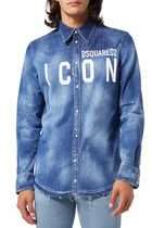 Icon Print Denim Shirt