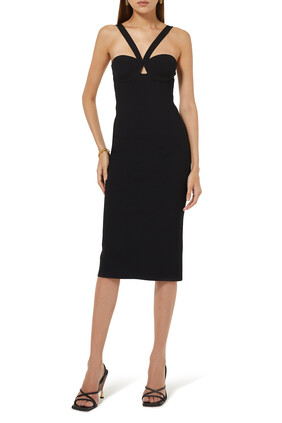 V Strap Knit Midi Dress