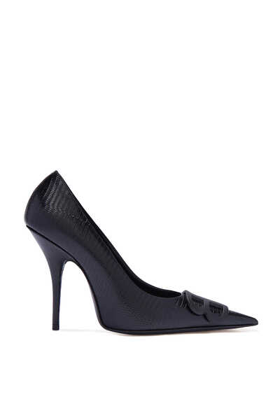 BB Logo Lizard Effect Leather Pumps